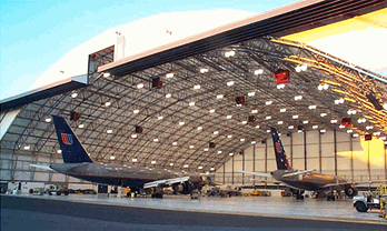 Aircraft hangars/Air cargo facilities/Aircraft maintenance buildings/Storage warehouses